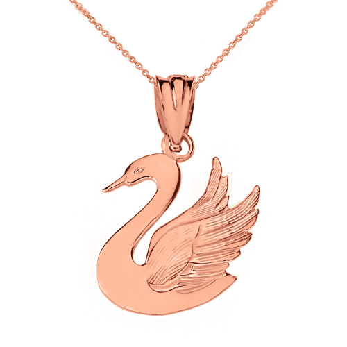 Solid Rose Gold Swan Pendant Necklace