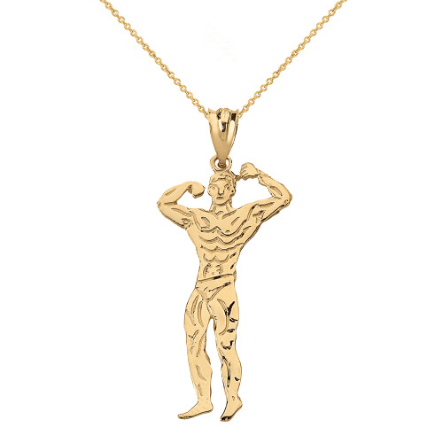 Solid Yellow Gold Weightlifting Fitness Sport Male Bodybuilder Pendant Necklace