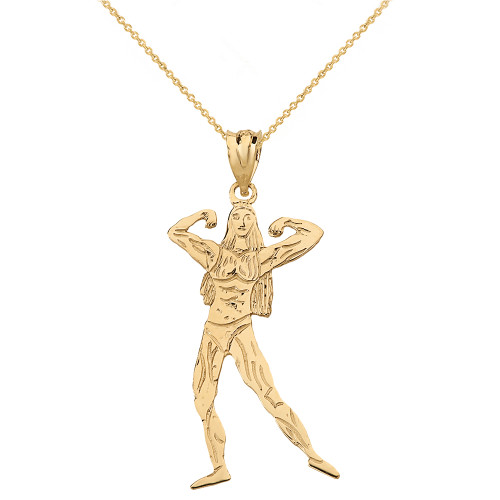 Solid Yellow Gold Weightlifting Fitness Sport Female Bodybuilder Pendant Necklace