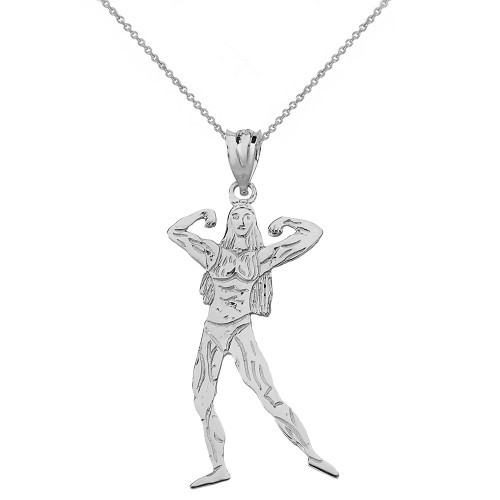 Solid White Gold Weightlifting Fitness Sport Female Bodybuilder Pendant Necklace