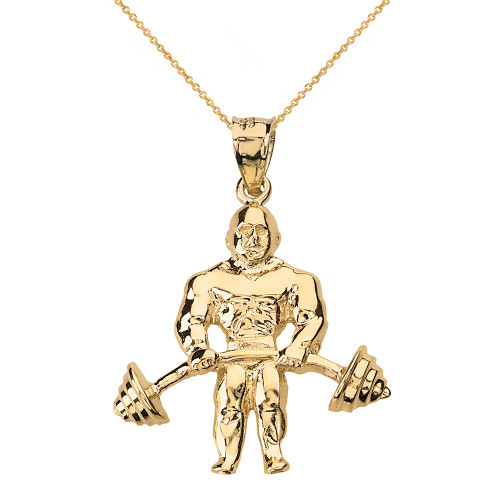 Solid Yellow Gold Weightlifting Fitness Sport Bodybuilder and Barbell Pendant Necklace