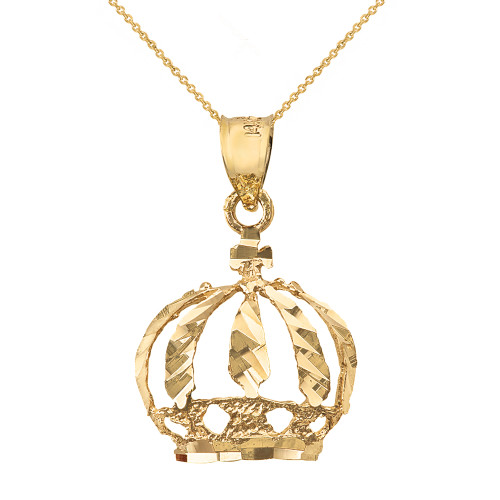 Solid Yellow Gold Diamond Cut Christian Royal Crown Pendant Necklace