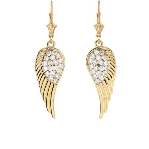 Yellow Gold CZ  Angel Wings Leverback Earrings