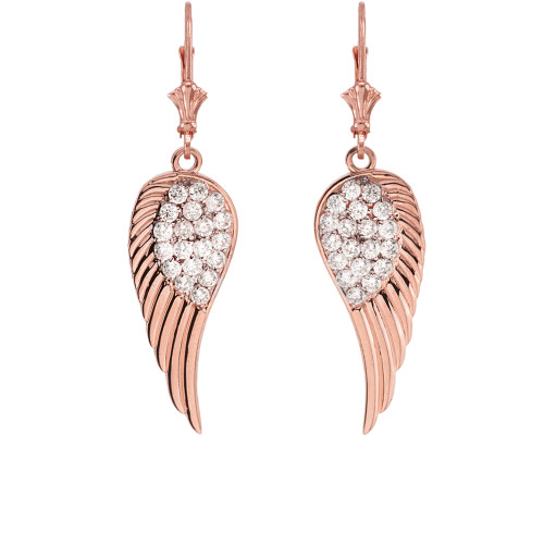 Rose Gold CZ  Angel Wings Leverback Earrings