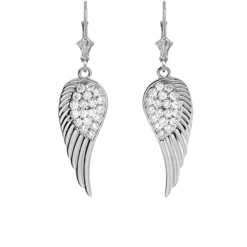 White Gold CZ  Angel Wings Leverback Earrings