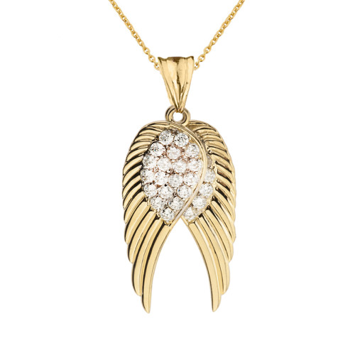 Two  Elegant Yellow Gold Diamond  Angel Wings  Pendant Necklace
