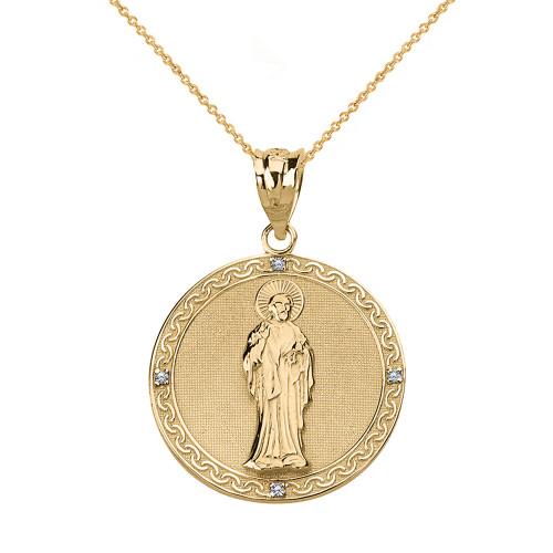 Solid Yellow Gold Diamond Saint Peter Engravable Circle Medallion Pendant Necklace (Small)