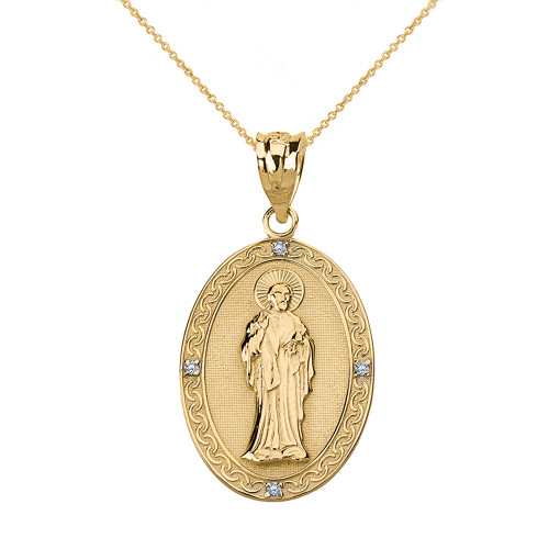 Solid Yellow Gold Diamond Saint Peter Engravable Oval Medallion Pendant Necklace (Small)