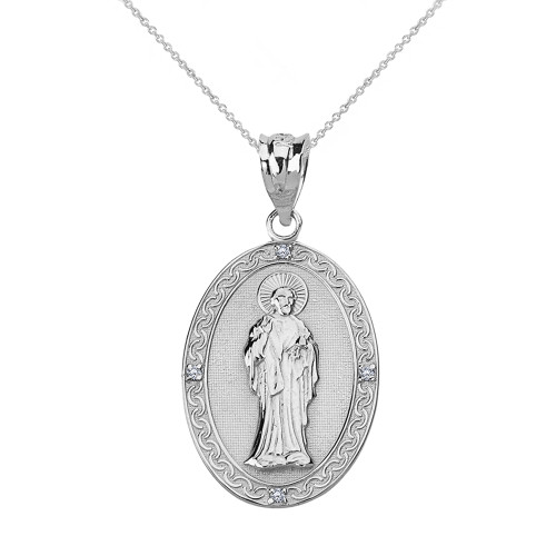 Solid White Gold Diamond Saint Peter Engravable Oval Medallion Pendant Necklace (Small)