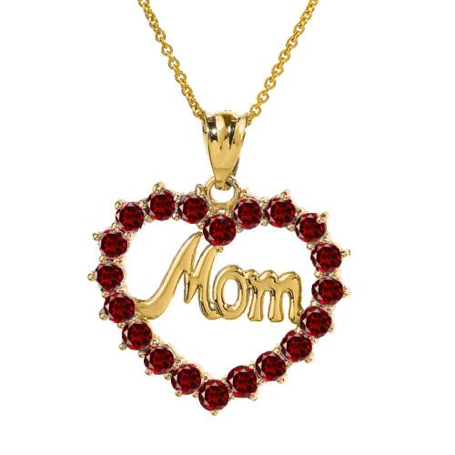 "Yellow Gold ""Mom"" Garnet (LCG) Open Heart Pendant Necklace"