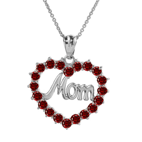 "White  Gold ""Mom"" Garnet (LCG) Open Heart Pendant Necklace"