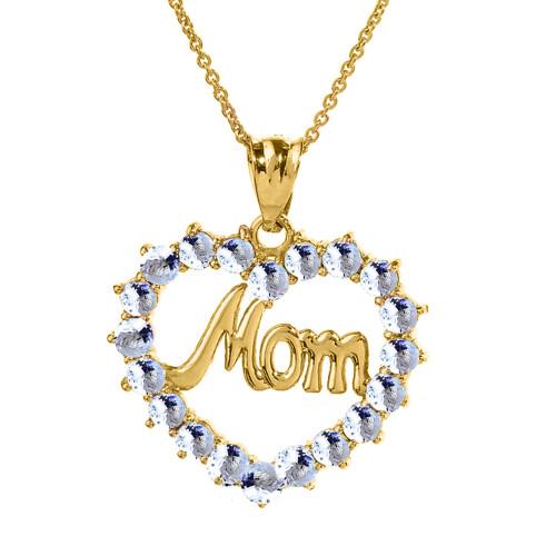 "Yellow Gold ""Mom"" Aquamarine (LCAQ) Open Heart Pendant Necklace"