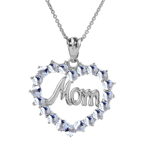 "White  Gold ""Mom"" Aquamarine  (LCAQ) Open Heart Pendant Necklace"