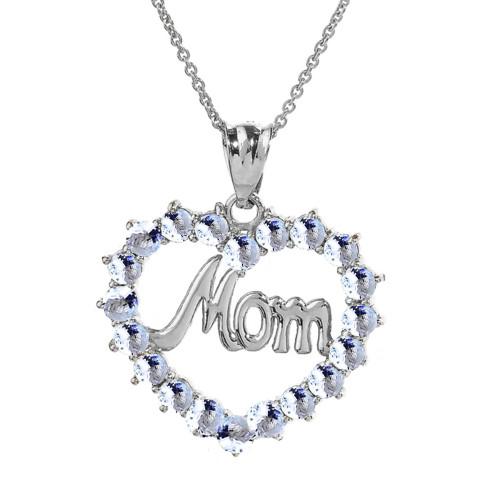 "Sterling Silver  Gold ""Mom"" Aquamarine  (LCAQ) Open Heart Pendant Necklace"