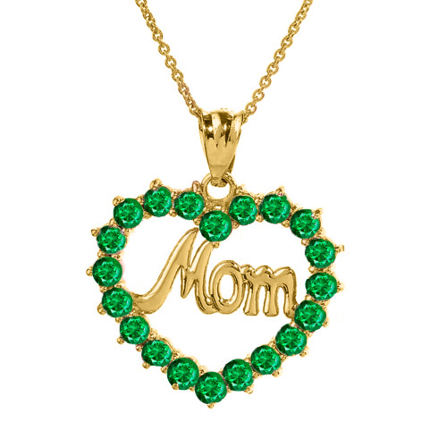 """Yellow Gold """"Mom"""" Emerald (LCEM) in Open Heart Pendant Necklace"""