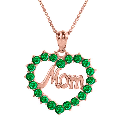 """Rose Gold """"Mom"""" Emerald (LCEM) in Open Heart Pendant Necklace"""