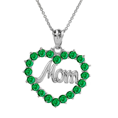 """White Gold """"Mom"""" Emerald (LCEM) in Open Heart Pendant Necklace"""