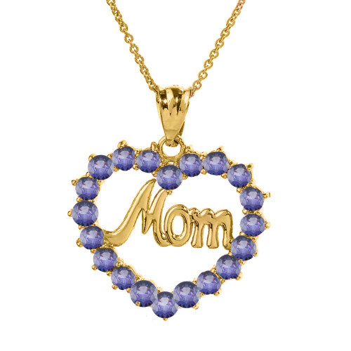 """Yellow Gold """"Mom"""" Alexandrite (LCAL) in Open Heart Pendant Necklace"""