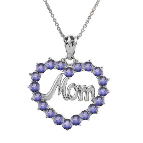 """White  Gold """"Mom"""" Alexandrite (LCAL) in Open Heart Pendant Necklace"""