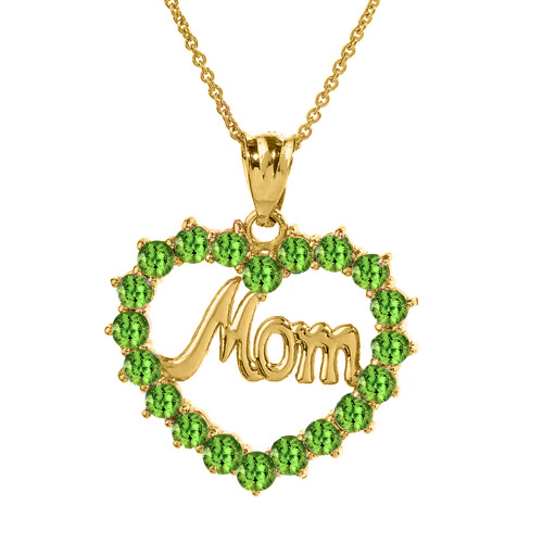"""Yellow Gold """"Mom"""" Peridot  (LCPE) in Open Heart Pendant Necklace"""