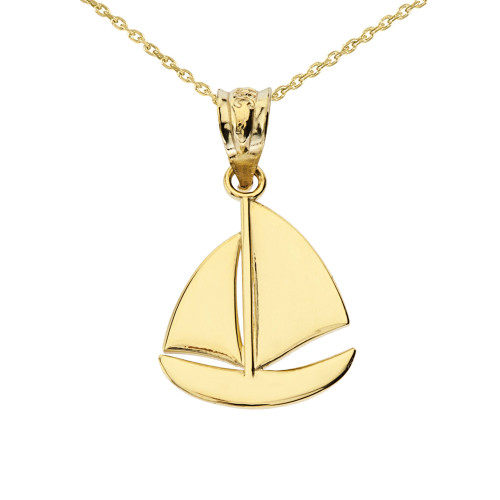 Yellow Gold Sail Boat Pendant Necklace