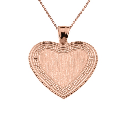 Greek Key Rose Gold Engravable Heart Pendant