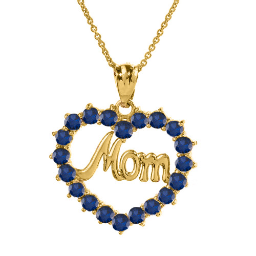 """Yellow Gold """"Mom""""Sapphire (LCS) in Open Heart Pendant Necklace"""