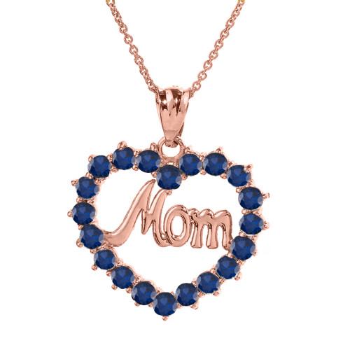 """Rose  Gold """"Mom""""Sapphire (LCS) in Open Heart Pendant Necklace"""
