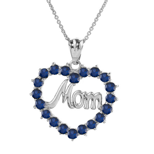 """White  Gold """"Mom""""Sapphire (LCS) in Open Heart Pendant Necklace"""