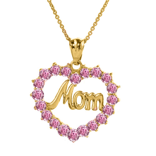 """Yellow Gold """"Mom"""" Pink (LCP) in Open Heart Pendant Necklace"""