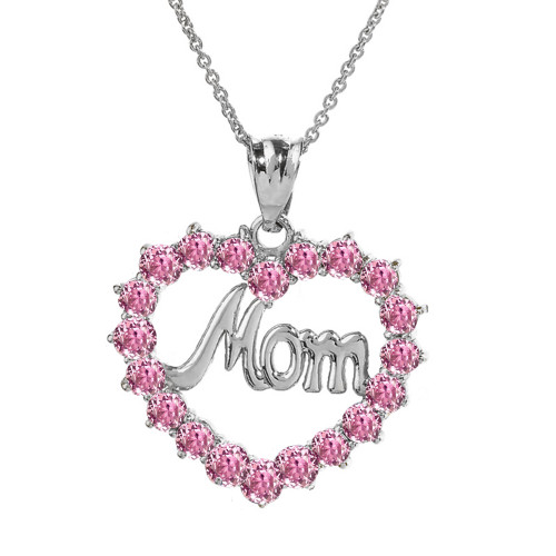"""White  Gold """"Mom"""" Pink (LCP) in Open Heart Pendant Necklace"""