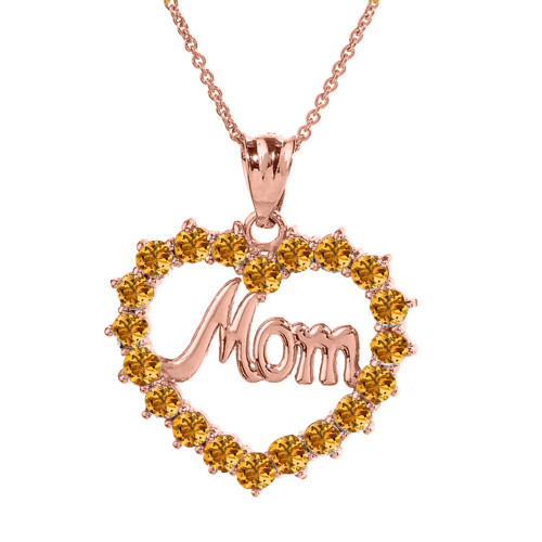 """Rose  Gold """"Mom"""" Citrine (LCC) in Open Heart Pendant Necklace"""