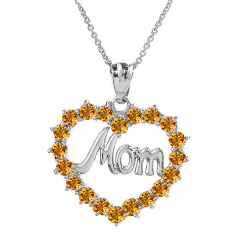 "White  Gold ""Mom"" Citrine (LCC) in Open Heart Pendant Necklace"