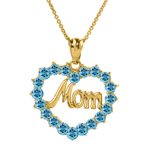 """Yellow Gold """"Mom"""" Blue Topaz  (LCBT) in Open Heart Pendant Necklace"""