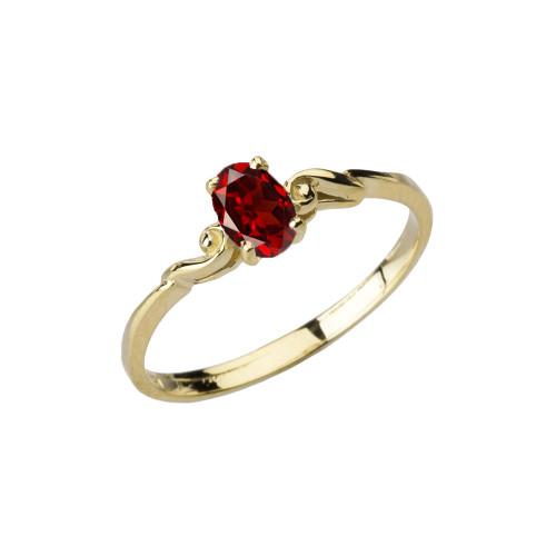 Dainty Yellow Gold Elegant Swirled Genuine Garnet Solitaire Ring