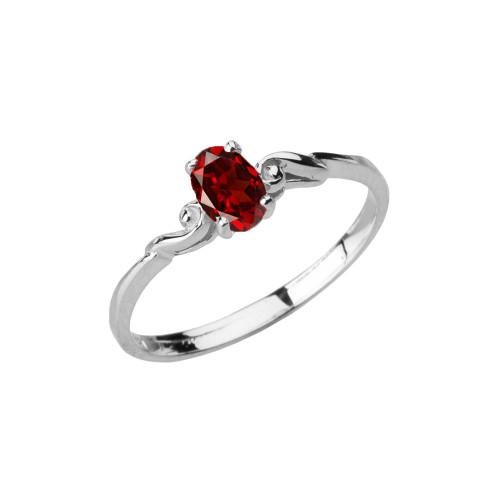 Dainty White Gold Elegant Swirled Genuine Garnet Solitaire Ring