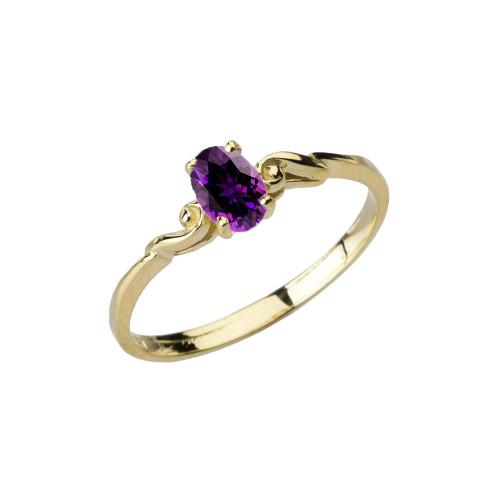 Dainty Yellow Gold Elegant Swirled Genuine Amethyst Solitaire Ring