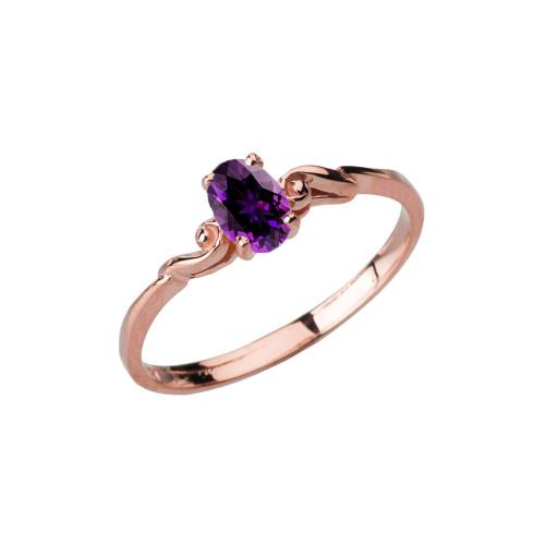 Dainty Rose Gold Elegant Swirled Genuine Amethyst Solitaire Ring