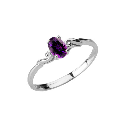 Dainty White Gold Elegant Swirled Genuine Amethyst Solitaire Ring