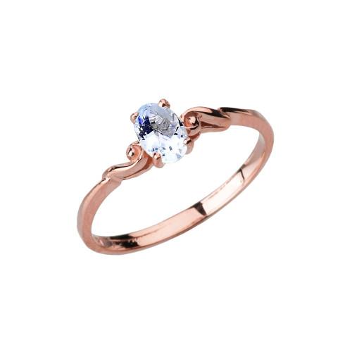 Dainty Rose Gold Elegant Swirled Genuine Aquamarine Solitaire Ring