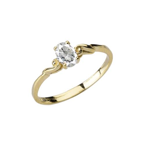 Dainty Yellow Gold Elegant Swirled Cubic Zirconia Solitaire Ring