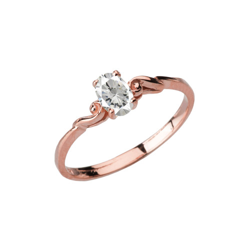 Dainty Rose Gold Elegant Swirled Cubic Zirconia Solitaire Ring
