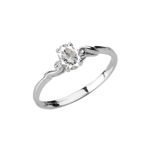 Dainty White Gold Elegant Swirled Cubic Zirconia Solitaire Ring