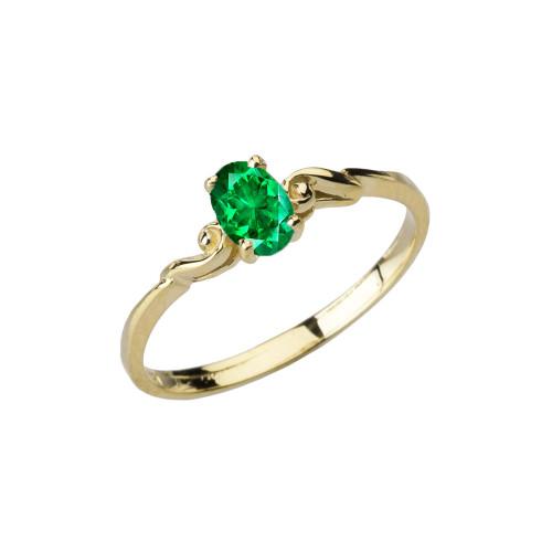 Dainty Yellow Gold Elegant Swirled Genuine Emerald Solitaire Ring