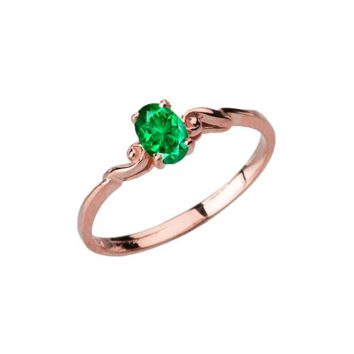 Dainty Rose Gold Elegant Swirled Genuine Emerald Solitaire Ring