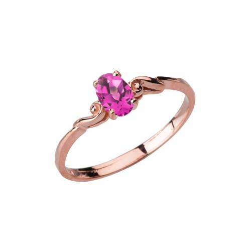 Dainty Rose Gold Elegant Swirled Alexandrite (LCAL) Solitaire Ring