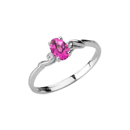 Dainty White Gold Elegant Swirled Alexandrite (LCAL) Solitaire Ring