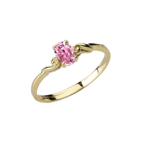 Dainty Yellow Gold Elegant Swirled Pink Cubic Zirconia Solitaire Ring
