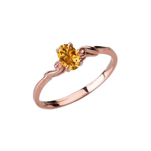Dainty Rose Gold Elegant Swirled Genuine Citrine Solitaire Ring