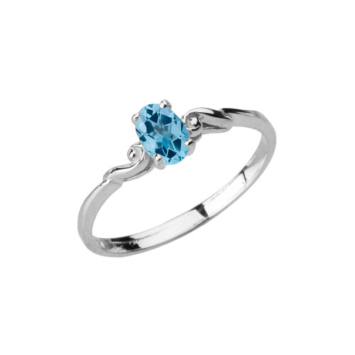 Dainty White Gold Elegant Swirled Genuine Blue Topaz Solitaire Ring